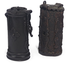 A WROUGHT-IRON ALMS BOX