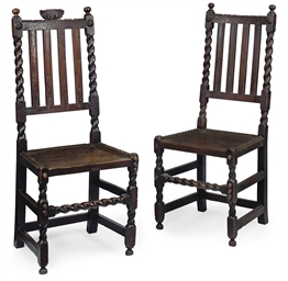 A PAIR OF WILLIAM III OAK HALL