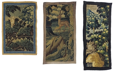 THREE FLEMISH VERDURE TAPESTRY