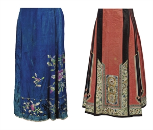 FOUR CHINESE APRON SKIRTS