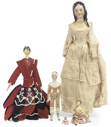 TWO WOOD AND COMPOSITION DOLL'