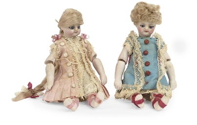 TWO FRENCH ALL-BISQUE DOLL'S H