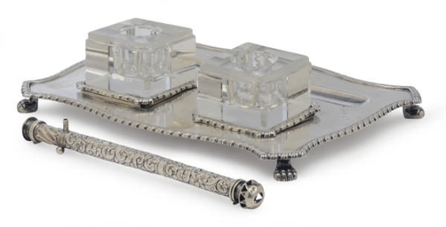 A GEORGE VI SILVER INKSTAND AN