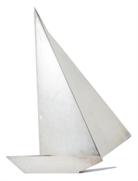 A CONTINENTAL SILVER SAILBOAT,