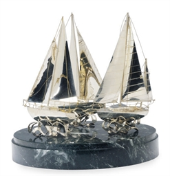 THREE FRENCH SILVER SAILBOAT M