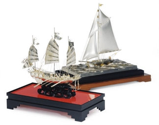 A SILVER MODEL OF A SAILBOAT M