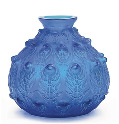 A FRENCH BLUE GLASS 'FOUGERES'