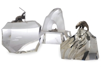 THREE AMERICAN GLASS AND CAST SILVER 'ARCTIC' THEMED TABLETOP SCULPTURES,