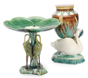 A MAJOLICA COMPOTE MOLDED AS A