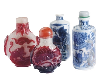 TWO CHINESE RED OVERLAY GLASS