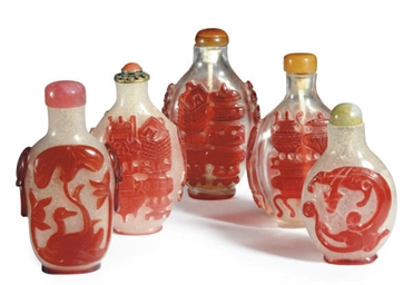 A GROUP OF FIVE CHINESE CARVED