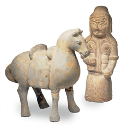 A CHINESE POTTERY HORSE AND A