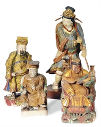 TWO CHINESE PAINTED CLAY FIGUR