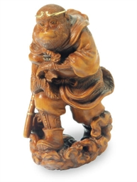 A JAPANESE WOOD FIGURE OF SONG