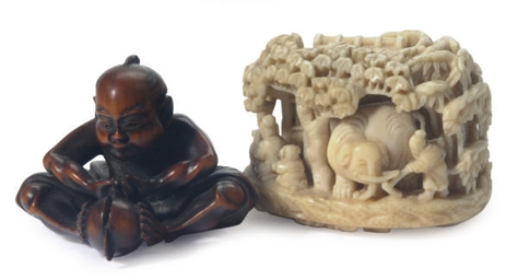 TWO JAPANESE IVORY NETSUKE,**