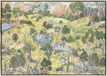 AN INDIAN PAINTING OF A FOREST