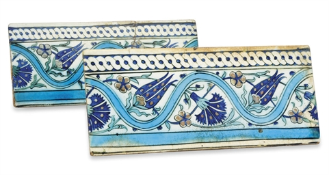 TWO DIYARBERKIR POTTERY TILES,
