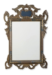 A GILT-GESSO AND GREEN-PAINTED