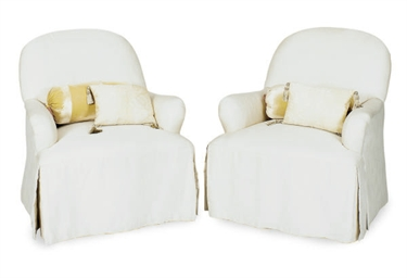 A PAIR OF CREAM SILK UPHOLSTER