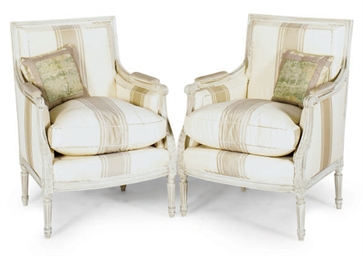 A PAIR OF CREAM-PAINTED AND UP