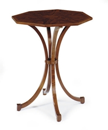 AN ENGLISH MAHOGANY AND AMBOYN