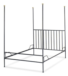 A STEEL AND BRASS BED,