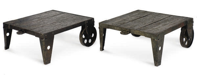 A PAIR OF FRENCH IRON AND PINE
