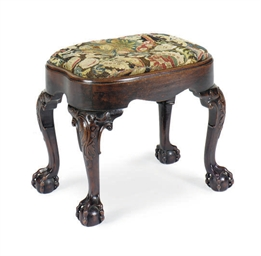 AN ENGLISH MAHOGANY STOOL,