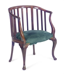 A GEORGE III MAHOGANY ROUNDED-