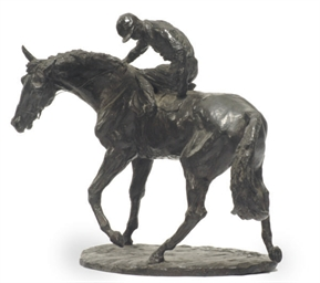 AN ENGLISH PATINATED BRONZE FI