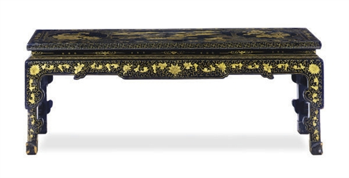 A BLACK AND GILT-LACQUERED COF