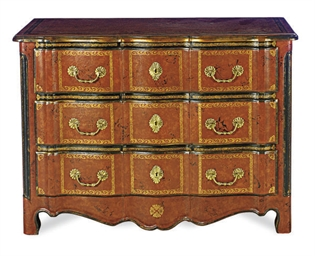 A RED-TOOLED LEATHER COMMODE,