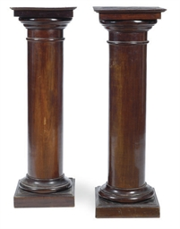 A PAIR OF MAHOGANY PEDESTALS,