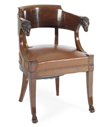 A FRENCH EMPIRE MAHOGANY FAUTE