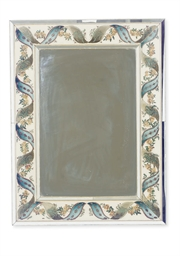 A REVERSE PAINTED MIRROR,