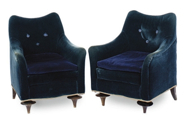 A PAIR OF BLUE VELVET UPHOLSTE