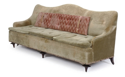 A PAIR OF GREEN UPHOLSTERED SO