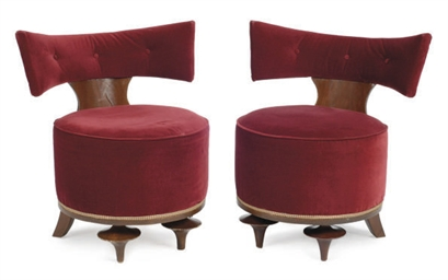 A PAIR OF BEECHWOOD AND VELVET
