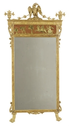 A PAINT-DECORATED, PARCEL-GILT