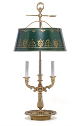 A GILT-BRONZE THREE-LIGHT BUIL