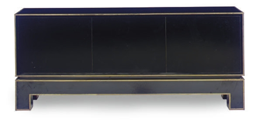 A BRASS-BANDED BLACK LACQUERED