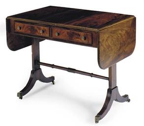 A MAHOGANY SOFA TABLE,