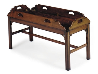 A MAHOGANY BUTLER'S TRAY-ON-ST