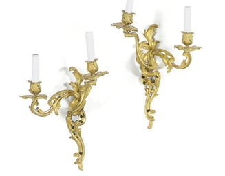 A PAIR OF ORMOLU TWO-BRANCH WA