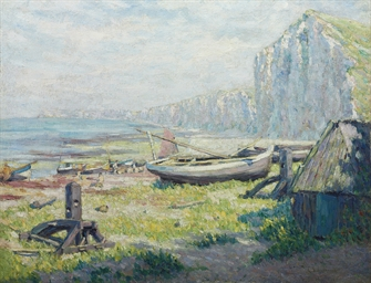 Barques sur le rivage sous la