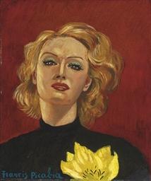 Femme à fleur jaune