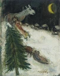 Scène de village en hiver