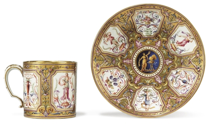 A SEVRES (HARD PASTE) CUP AND