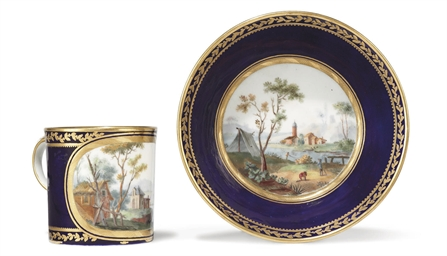 A SEVRES DARK-BLUE-GROUND CUP