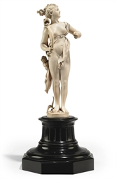 A FRENCH IVORY FIGURE OF DIANA